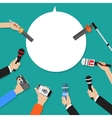 Few hands of journalists with microphones vector image vector image