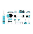 fitness icons set with equipment vector image vector image