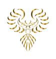 gold line art phoenix bird vector image vector image
