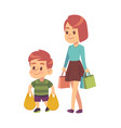 good manners boy helps mom polite kid vector image vector image