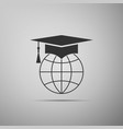 graduation cap on globe icon isolated on grey vector image vector image