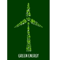 Green energy symbol with wind turbine silhouette