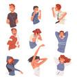 happy people listening to music wearing earphones vector image vector image