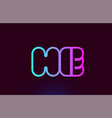 he h e pink line alphabet letter combination logo vector image vector image