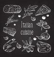 italian cuisine sketch doodle chalkboard food vector image