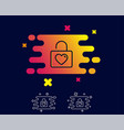locker with heart line icon love symbol vector image vector image