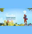 man backpacker enjoy view autumn forest traveler vector image