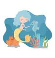 mermaid with seahorse reef coral cartoon under the vector image vector image