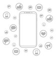 mobile phone social media vector image vector image