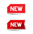 New Red Paper Labels - Stickers Set vector image