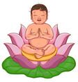 newborn buddha sits in lotus flower vector image vector image