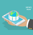 online breaking news flat isometric concept vector image