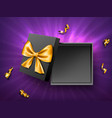 open gift black box top view vector image
