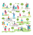outdoor activism in urban park bicycle riders and vector image vector image