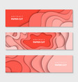 paper cut waves shape abstract template coral vector image
