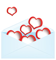 Red hearts and envelope vector image vector image