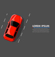 red hot car on road travel or race concept vector image