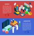 science horizontal banners set vector image vector image