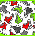 seamless pattern with cartoon sneakers vector image