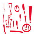 set hand drawn exclamation mark vector image vector image