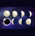 set of moon phases vector image vector image