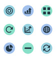 set of simple analytics icons vector image vector image