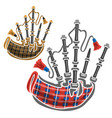 set scottish bagpipes vector image