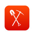 shovel and pickaxe icon digital red vector image vector image