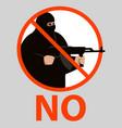 sign no terrorism flat vector image