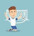 soccer player celebrating a goal vector image vector image