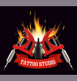 tattoo studio label emblem logo template vector image