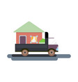 truck transports the house vector image