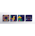 year colorful nordic art card set vector image vector image