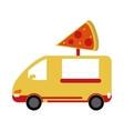 yellow pizza delivery truck fast food vector image