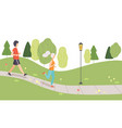 young man and woman running in park people vector image vector image
