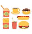 fast junk food icons flat set vector image