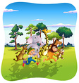 animals and farmer running in nature vector image vector image