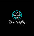 beauty flying butterfly stamp label logo vector image vector image