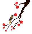 bird and blossom branch vector image vector image