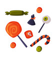 candies and sweets set happy halloween objects vector image