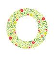 capital letter o green floral alphabet element vector image vector image