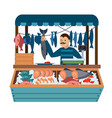 cartoon color character person male and food vector image vector image