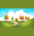 cartoon landscape tent tree hill grass vector image vector image