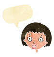cartoon surprised female face with speech bubble vector image vector image