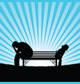 child and man silhouette on bench vector image
