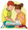 children read book vector image