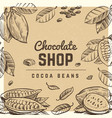 chocolate shop vintage poster design with sketched vector image
