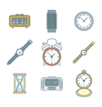 colored outline various watches clocks icons set vector image vector image