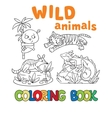 Coloring book with wild animals vector image