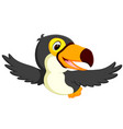 cute bird toucan flying vector image vector image
